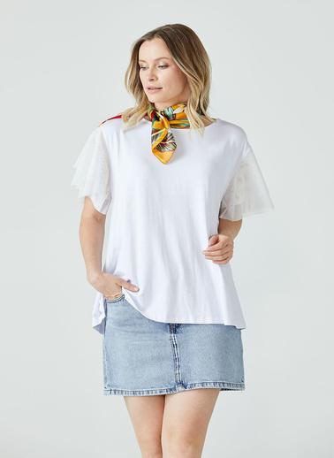 Sementa Kadın Büyük Beden Kolu Tül Detaylı Bluz  Beyaz